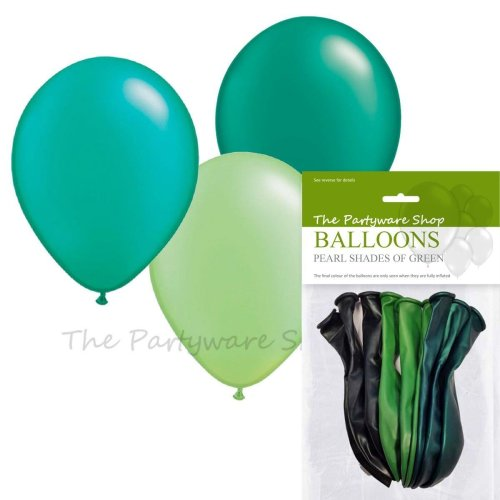 9 X Shades Of Green 11 Inch Latex Balloons Helium Quality Pearlised On OnBuy