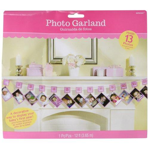 Amscan First Birthday Pink Glitter Photo Garland