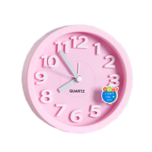 Desk Candy Colors Creative Small Alarm Clock with Loud Alarm Bell (Round,Pink)