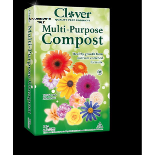 1 BAGS OF CLOVER 60LT MULTI-PURPOSE PEAT COMPOST ENRICHED FORMULA+ WETTING AGENT