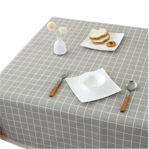 Linen Tablecloth Decorative Square Rectangular Table Cloth Cover-130x180cm, Waterproof Lattice,grey