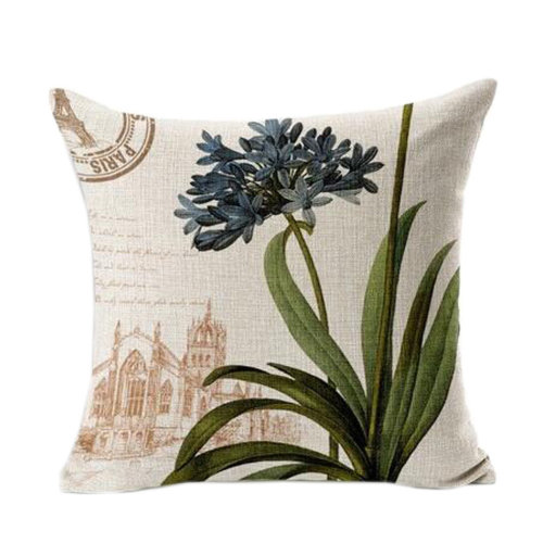 Home Cotton Linen Decorative Cushion Cover Pillowcase Retro Sweet Flowers, B