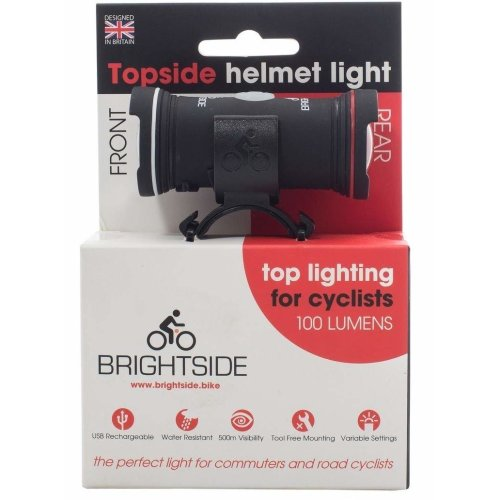 Topside 100 Lumen Bike Helmet Light - Dual Front & Rear Bike Light. USB Rechargeable & Waterproof