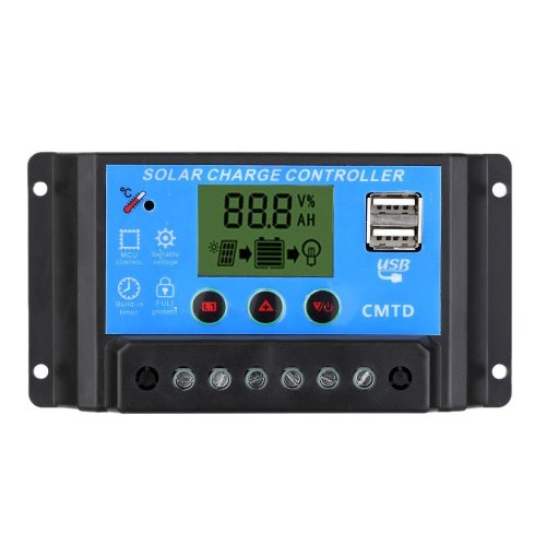Anself Solar Charge Controller with LCD Display Auto Regulator Timer Solar Panel Battery Lamp LED Lighting Overload Protection (10A12V)