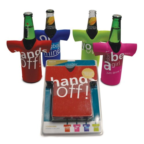 Cellardine Beer Bottle chillers (Set of 4) -Design A, Neoprene, Multi-Colour