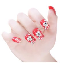 24 PCS Wedding Bride Artificial Nails with Gum (Red)