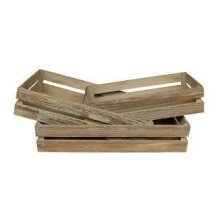 Set of 3 Oak Effect Wooden Packing Crates