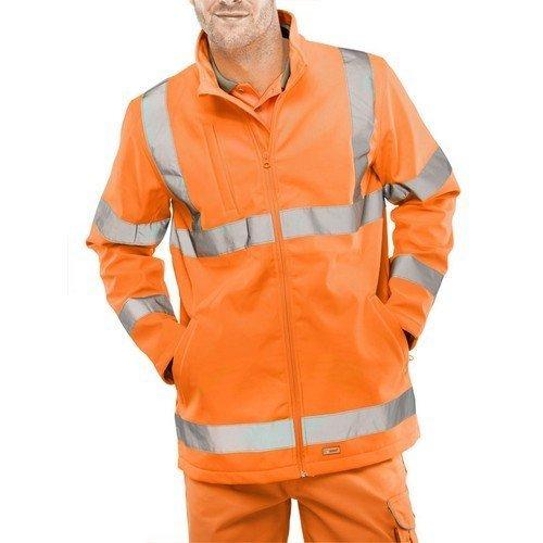 Click SS20471ORL Hi Vis Orange Soft Shell Jacket Large