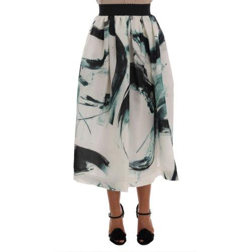 Dolce & Gabbana White Silk Long Maxi Skirt
