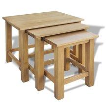 vidaXL Three Piece Nest of Tables Oak
