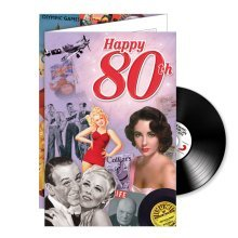 80th Birthday gifts; Music CD and Greeting Card in one, top music from 1945-1975