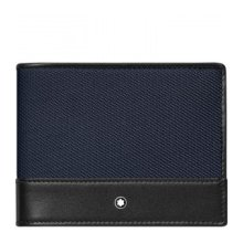 MONTBLANC WALLET WITH 4 COMPARTMENTS WITH CLIP NIGHTFLIGHT BLACK BLUE 116833