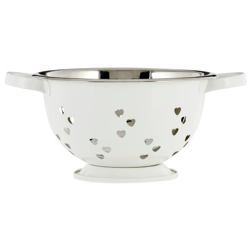 Colander with Hearts Design, Ivory