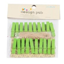 Mini Natural Wooden Clothespins Photo Paper Peg Pin Craft Clips with 2m Jute Twine, D
