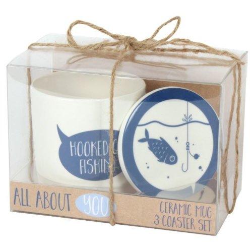 Hooked on Fishing Mug & Coaster Set Fathers Day Dad Christmas Birthday Gift Coffee Tea