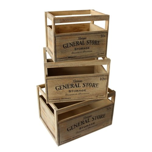 Set of Three Wooden Storage Baskets with General Store Printing