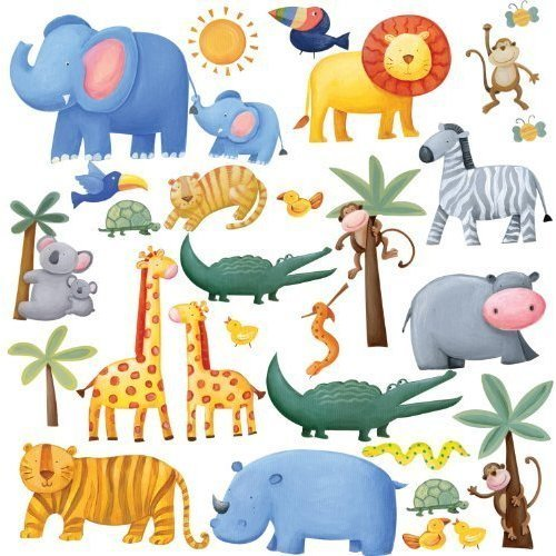 RoomMates RMK1136SCS Jungle Adventure Peel Stick Wall Decals