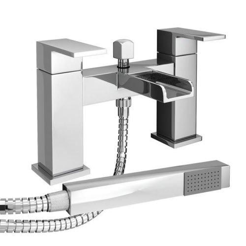 Waterfall Bath Shower Mixer Tap Modern Chrome with Shower Handset