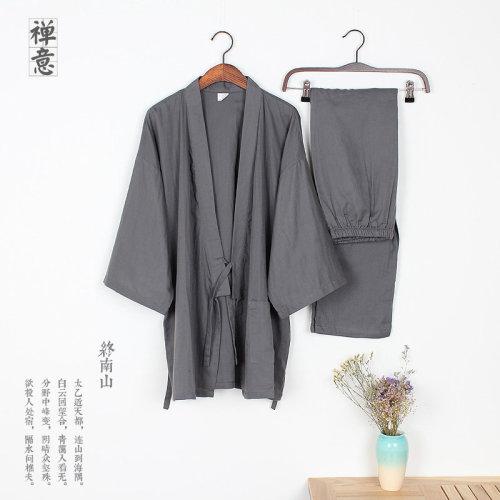 Loose Breathable Cotton Double Gauze Pajamas Suit Tracksuit Men's Kimono