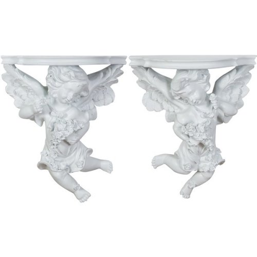 Resin Made Antiqued White  Finish W27xdp13xh32 Cm Sized Each Shelves Pair