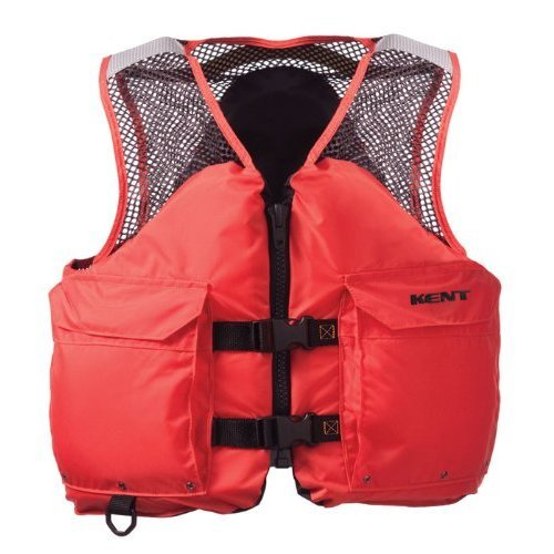 Kent Mesh Deluxe Commercial Life Vest Persons over 90 Pounds Orange X Large 44 48 Inch Chest