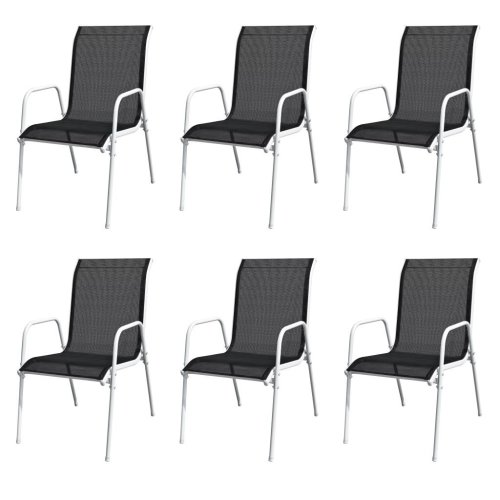 vidaXL Stackable Garden Chairs 6 pcs Steel and Textilene Black