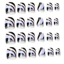 24 Pcs Fashion Nails Stickers Beautiful Nail Decorations False Nails Tips [O]