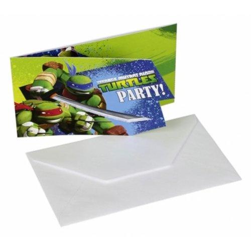 Amscan Card Invites - Tmnt - Party Ninja Turtles Teenage Mutant Birthday 6 -  party ninja turtles teenage mutant birthday 6 invitations envelopes