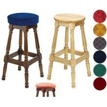 Tamara Wood Bar Stool - Padded / Unpadded Black Faux Leather Button Seat Walnut