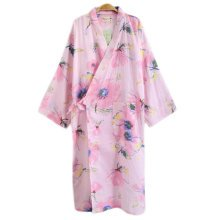Japanese Style Women Thin Cotton Bathrobe Pajamas Kimono Skirt Gown-A12