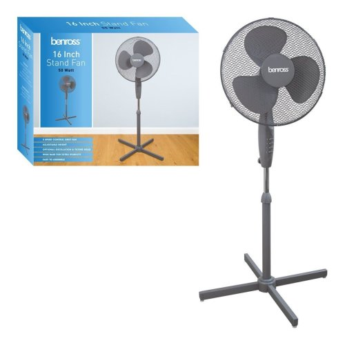 Benross 43840 Adjustable Oscillating 3-Speed Stand Fan, 50 W, Grey