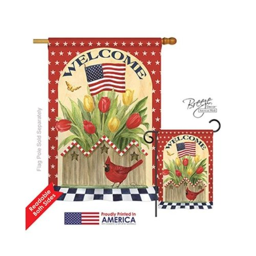 Breeze Decor 11062 Patriotic Patriotic Flowers 2-Sided Vertical Impression House Flag - 28 x 40 in.