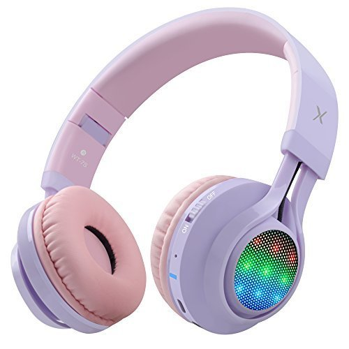 Riwbox WT 7S Bluetooth Headphones LED Light Up Wireless Foldable Stereo Headset with Microphone and Volume Control for PC iPhone TV iPad Purple