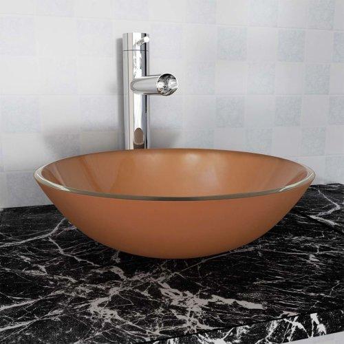 vidaXL Basin Tempered Glass 42 cm Brown