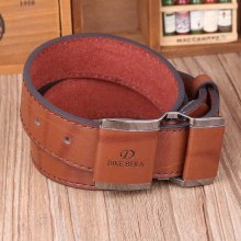 Men Business PU Leather Alloy Buckle Belts Casual Smooth Buckle Belt Waistband Strap
