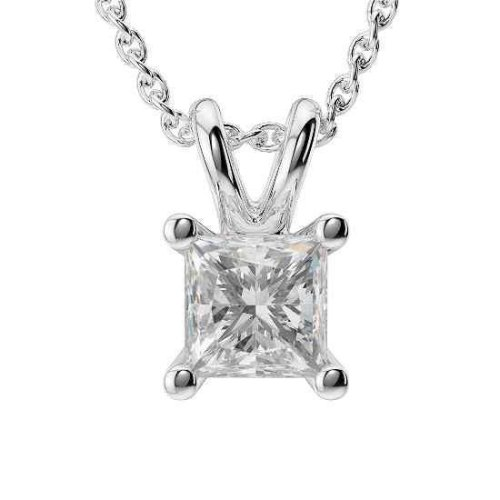 Princess Cut Diamond Necklace Pendant White Gold 14K 1 Ct Jewelry