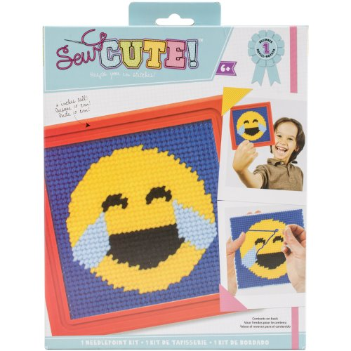 Sew Cute! Needlepoint Kit-Emoji Happy Tears