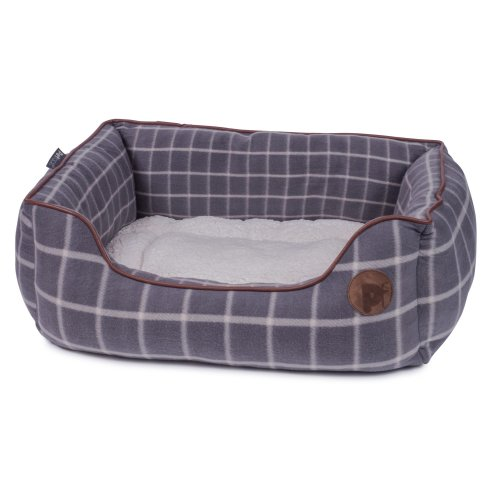 ad0b7fbb62ea Petface Grey Window Pane Check Square Bed, Medium on OnBuy