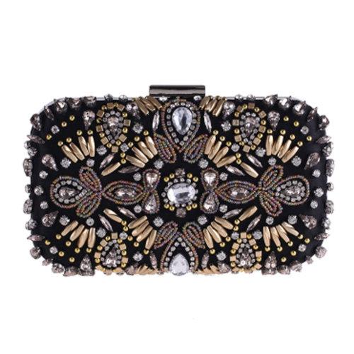 Women's Vintage Style Clutch Evening Bag Elegant Beaded Bag Luxurious Handbag Purse Cocktail Party,G