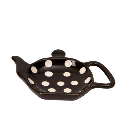 Dexam Polka Dot Tea Bag Holder, Black