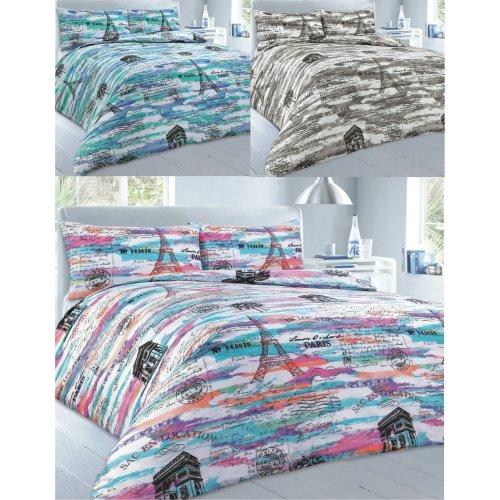 Paris Printed Duvet Quilt Cover Bedding Set
