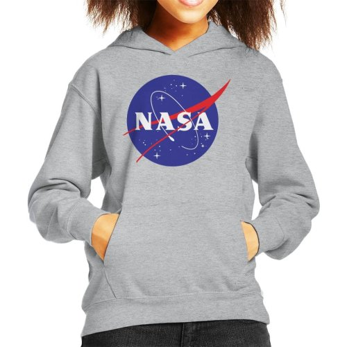 (Large (9-11 yrs), Heather Grey) The NASA Classic Insignia Kid's Hooded Sweatshirt