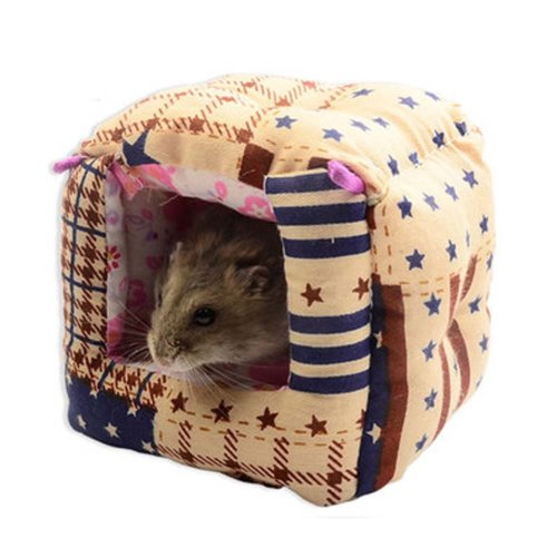 Warm Plush Polar Fleece Pet House with Bed Mat for Hamster Washable Pet Bed
