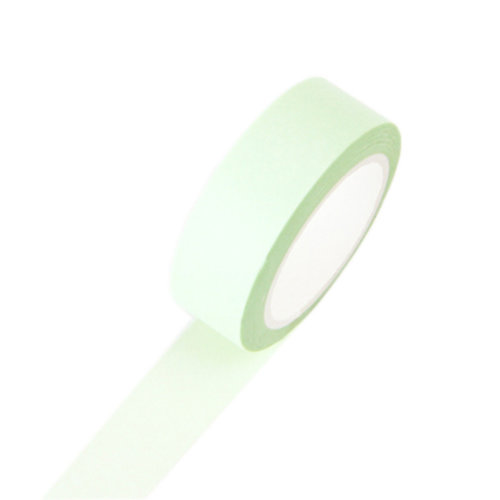 Set of 5 Soft Color Series Solid Color Decorative Craft Washi Masking Tape 15mmx10m, Green