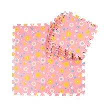 Joint Mat Interlocking Foam Mats EVA Foam Floor Mats (9 Tiles) Pink Sunflowers