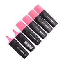 6-pack Fluorescent Pens Student Office Mark Pens Wide-barreled Highlighters Pink