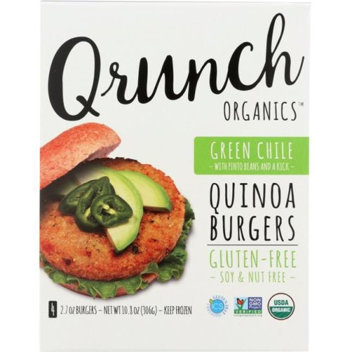 Qrunch KHFM00283648 Quinoa Burgers Green Chile with Pinto Beans - 10.8 oz
