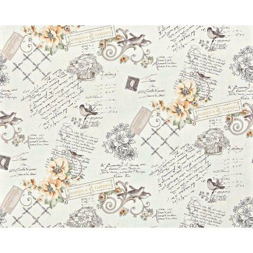 EDEM 904-12 non-woven cottage wallpaper XXL flowers birds orange green 10.65 sqm