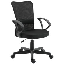 Vinsetto High Back Mesh Fabric Office Chair Swivel Executive Padded Seat Ergonomic Desk Chairs Height Adjustable Armchair Black