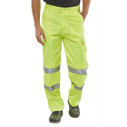 "Click PCTENSY30T Hi Vis Poly Cotton Work Trousers Yellow 30"" Long"
